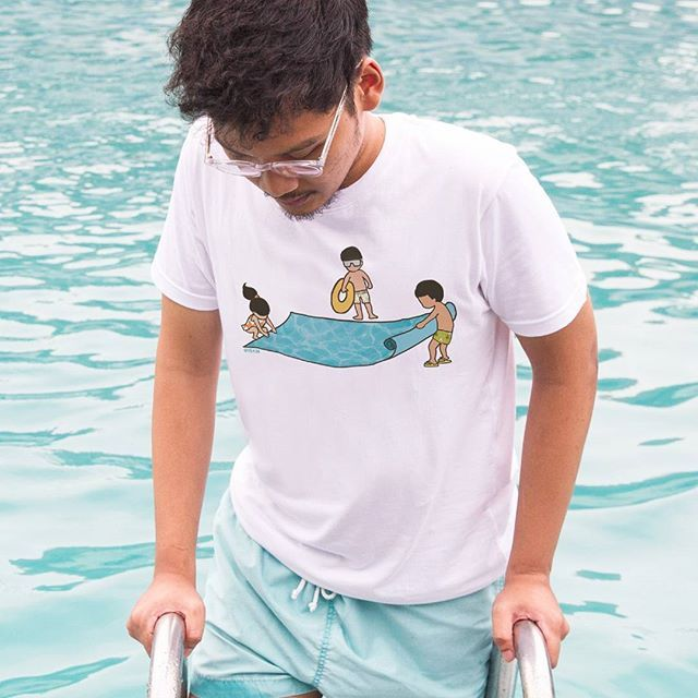 Its been raining a lot, but make yourself feel much better by swimming. The breathing, rhythmic strokes, and sounds of water will make you more relax.   Portable Pool by @iskiii    T-Shirt available in Arterous. Visit the link in our bio for more inspiring artwork by our local artist.    #Arterous #SwimmingDay #Illustration #People