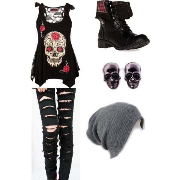 Punk Rock Skulls by maddievwright liked ❤ on polyvore.com