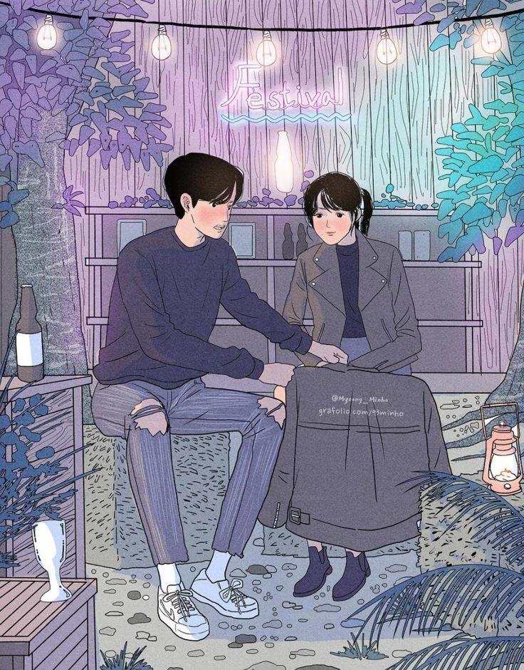 Myeong-Minho romantic couple illustrations