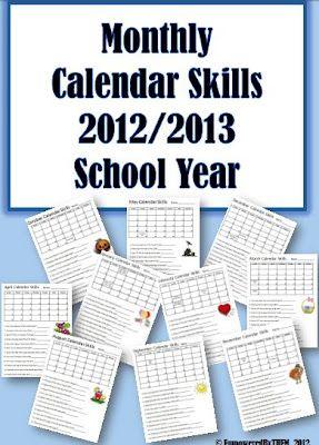 Monthly calendar skills worksheets