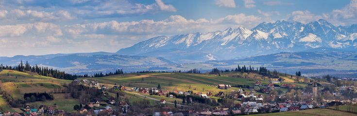 South Poland Panorama with snowy Tatra mountains in spring