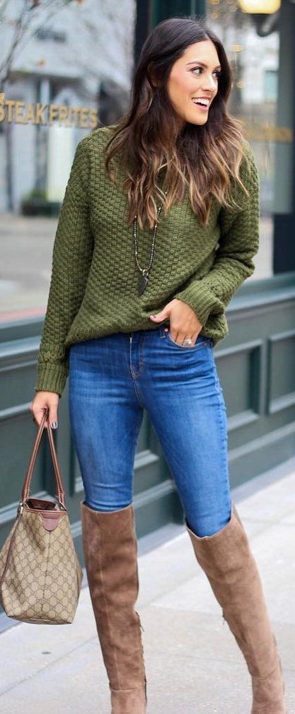 #winter #fashion / Green Knit / Skinny Jeans / Brown OTK Boots