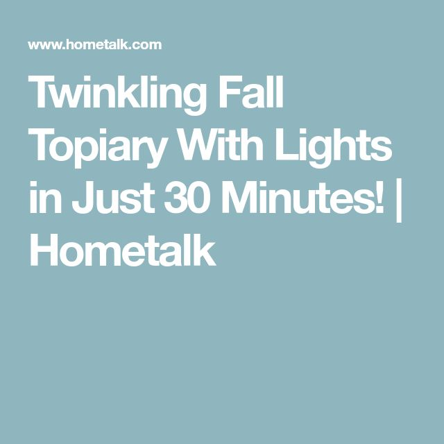 Twinkling Fall Topiary With Lights in Just 30 Minutes! | Hometalk