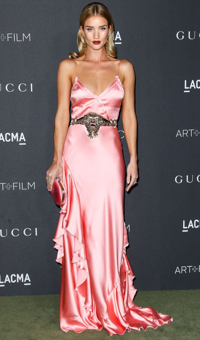 Rosie Huntington-Whiteley in a pink satin Gucci dress