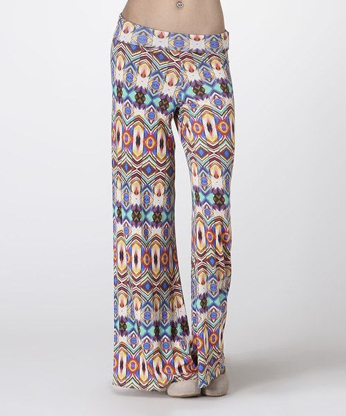 Take a look at the Carapace Blue & Orange Abstract Palazzo Pants on #zulily today!