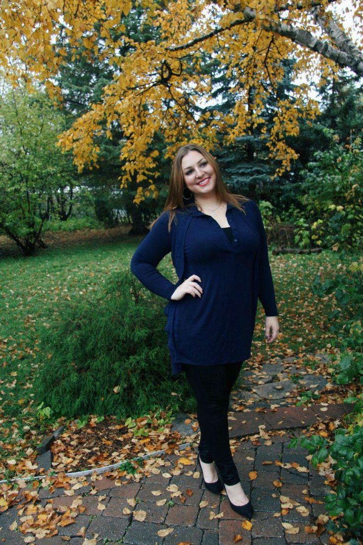 Fall Fashion Tunic Navy Blue Dress