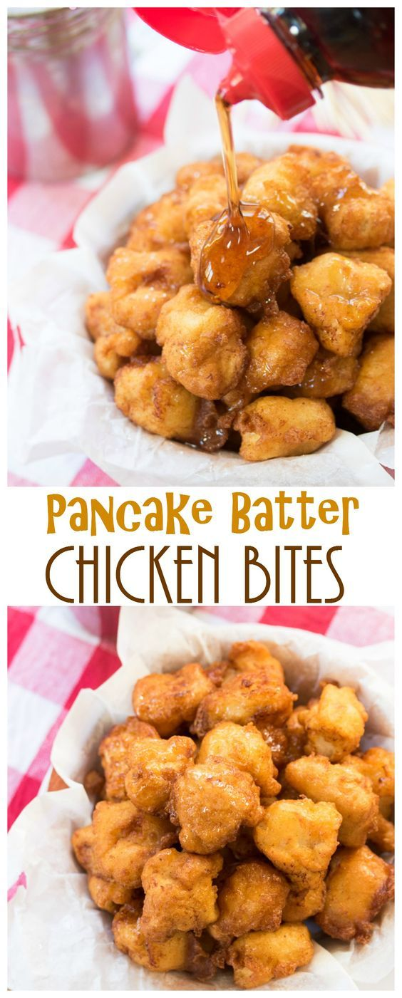 Pancake Batter Chicken Bites: Savory chicken bites sprinkled with cinnamon & sugar, submerged in decadent pancake batter, and fried to golden perfection.