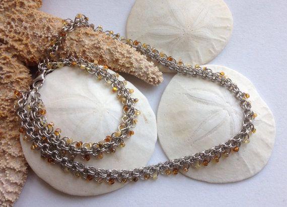 Amber Inspired Bracelet and Necklace Set by JewelrybySacredArt, $80.00