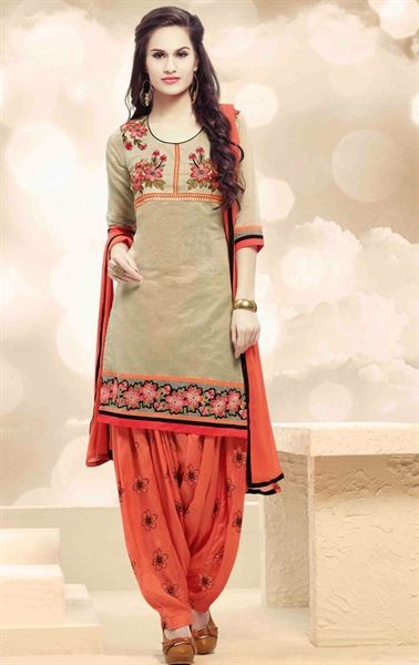 Picture of Beige and Salmon Patiala Salwar Kameez