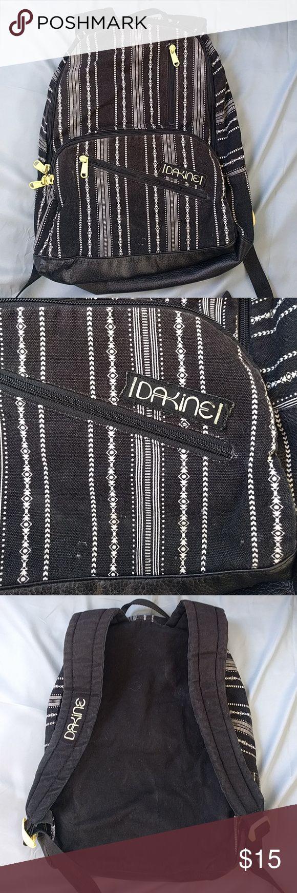 Dakine black and white pattern striped backpack Black and white patterned backpack with faux leather bottom, used six times Dakine Bags Backpacks