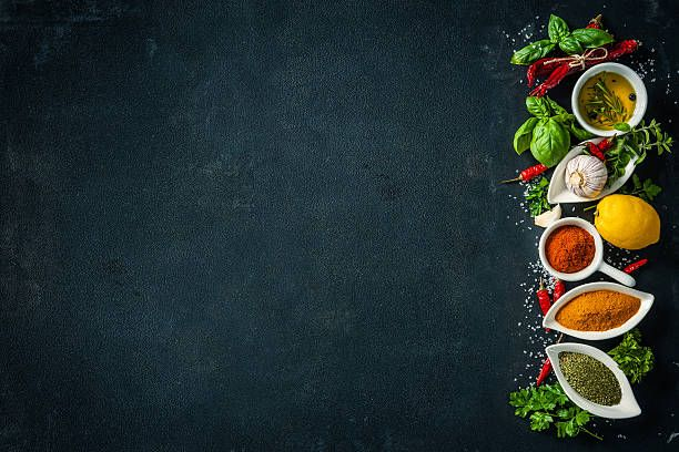 Herbs And Spices Over Black Stone Background Food Background Wallpapers Food Photography Background Food Poster