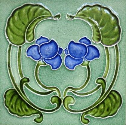 Edwardian Nouveau Majolica Ceramic Tile -  RD1904 W5. Pretty blue flower, with olive leaf colour and pale blueish-green background.