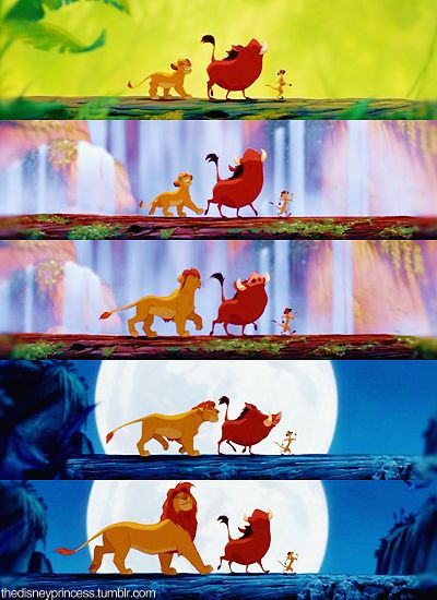 Lion King. I can totally picture the scene when simba, timone, pumba are walking along the log and then boom simba starts singing in his sexy as voice... Love it every time :)