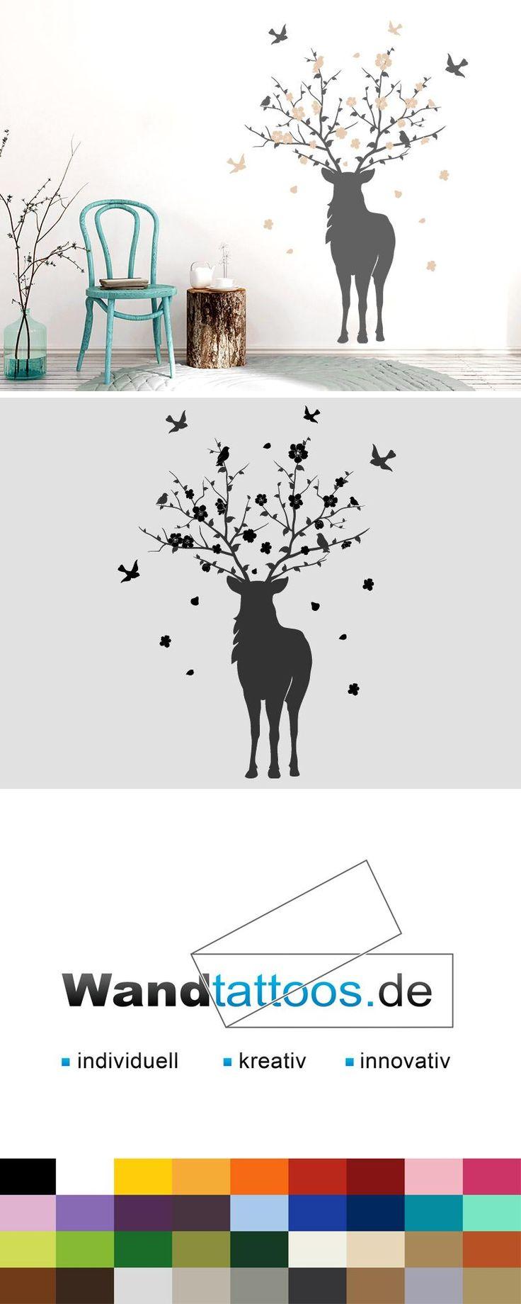 Wandtattoo Hirsch mit Blüten als Idee zur individuellen Wandgestaltung. Einfach Lieblingsfarbe und Größe auswählen. Weitere kreative Anregungen von Wandtattoos.de hier entdecken!