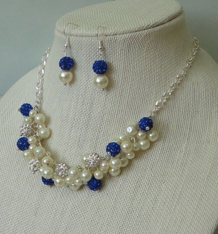 a DAVID'S BRIDAL Horizon Blue Pearl Cluster& Rhinestone Bead Necklace Set,WEDDing,Maid Of Honor,Mother Of Bride,Royal Blue Bead Necklace Set by DYEnamite on Etsy