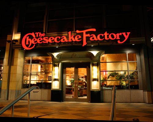 The cheesecake factory    eat a lovely meal, delicious pastas, fish tacos like you've never tasted before, fried zucchini, salads,meat,pizzas and sandwiches  and last --and best : their incredible and without of doubt uniiique cheesecake