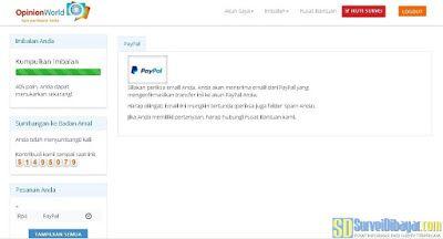 Permintaan penukaran poin OpinionWorld Indonesia sudah diterima | SurveiDibayar.com