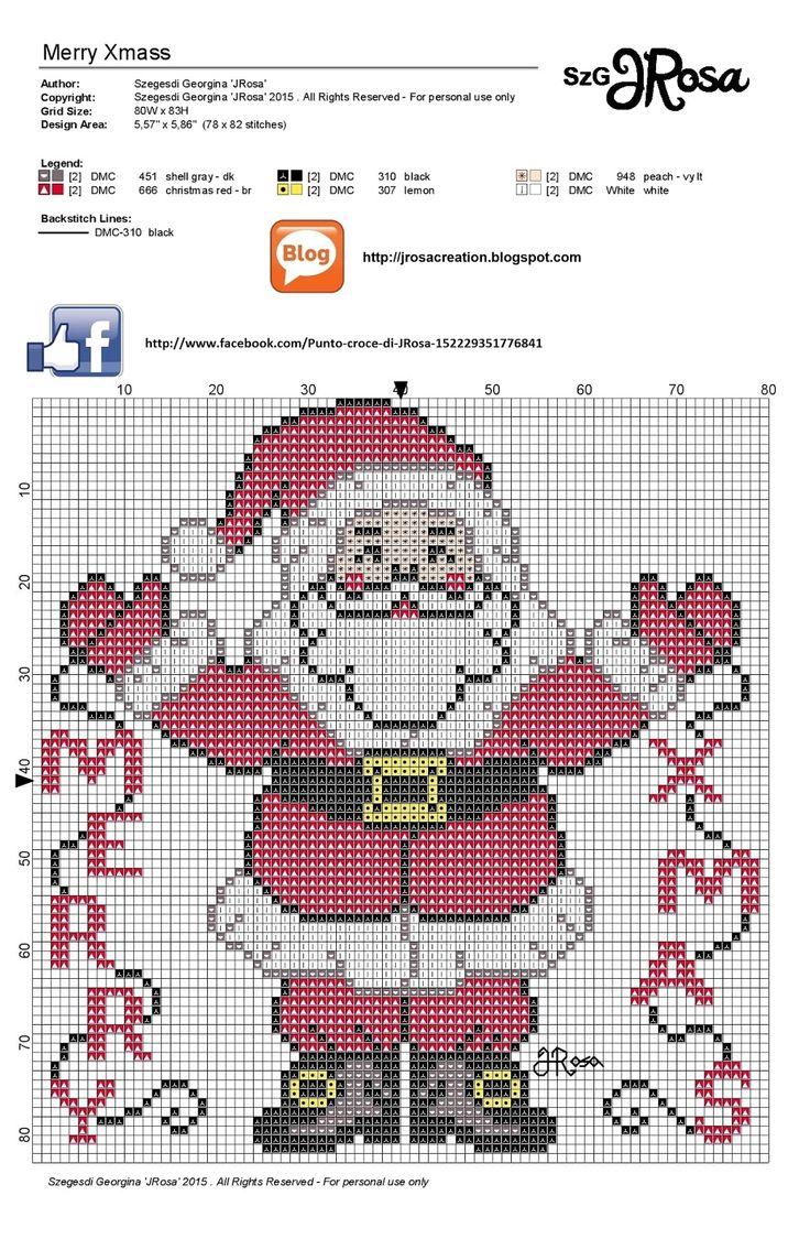 Merry Xmas cross stitch pattern - télapós keresztszemes minta | JRosa világa
