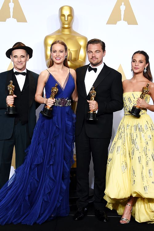 Best Supporting Actor Mark Rylance, Best Actress Brie Larson, Best Actor Leonardo DiCaprio and Best Supporting Actress Alicia Vikander pose with their Oscar in the press room during the 88th Oscars in Hollywood on February 28, 2016.