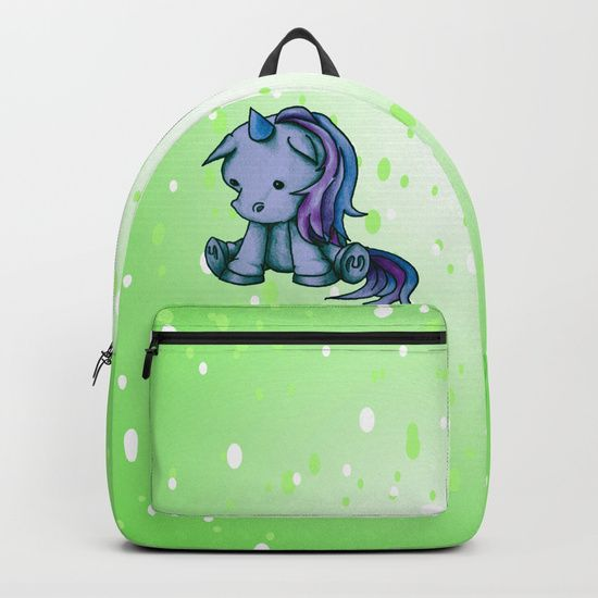 """Mini Unicorn backpack by I Love the Quirky. Crafted with spun poly fabric for durability and high print quality. Thoughtful details include double zipper enclosures, padded nylon back and bottom, interior laptop pocket (fits up to 15""""), adjustable shoulder straps and front pocket for accessories. Dry clean or spot clean only. One unisex size: 17.75""""(H) x 12.25""""(W) x 5.75""""(D)."""