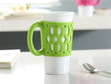 This 15oz Single Wall Tumbler With A Brightly Colored And Comfort Silicone Handle Grip