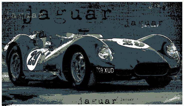 Tableau voiture ancienne sport Jaguar peinture bleu moderne