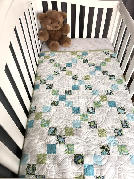 baby boy quilt kit, classic irish chain design, pieces are