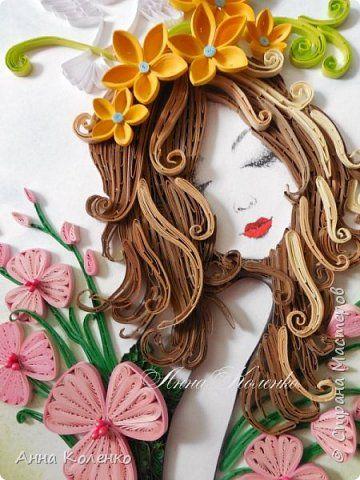 Картина панно рисунок Квиллинг Фея цветов Бумажные полосы фото 15