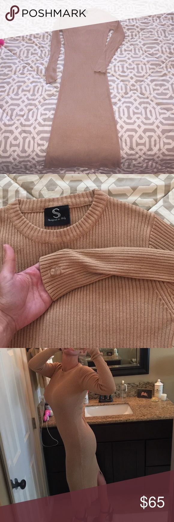 Sabo Camel Knitted Sweater  Dress Perfect for 🍂Fall🍂 comfort to wear, designed in Italy. 70% Viscose, 30% Spandex rib.  ✨never worn Sabo  Dresses Long Sleeve