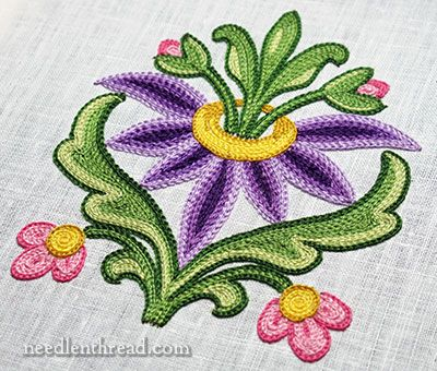 Tambour Embroidery: Flower Practice Piece: http://www.needlenthread.com/2013/11/tambour-embroidered-flower-practice.html