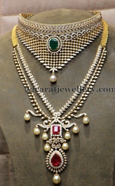 Jewellery Designs: Two Rows Trendy Diamond Set
