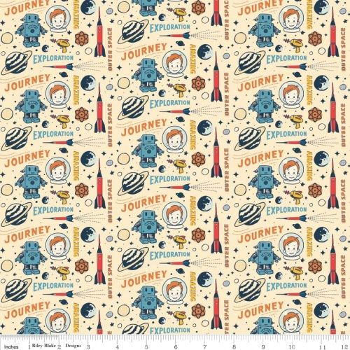 Riley Blake Fabric - Rocket Age - Cream - Space - 100% Cotton