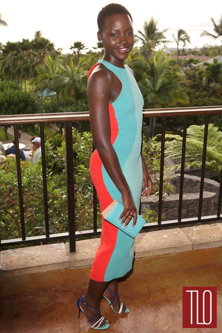 Lupita Nyongo-Calvin Klein Collection-2014 Maui Film Festival.  Christian Louboutin 'Gwynitta' sandals and a Jill Haber 'Ethan' stingray clutch.
