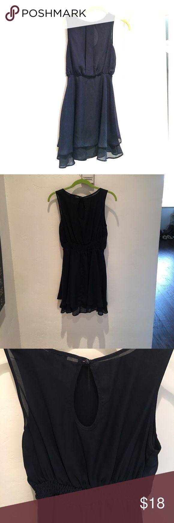ASOS | Navy Chiffon Dress Beautiful navy chiffon dress. Great for any occasion. 34 inches long falls above the knee. ASOS Dresses Midi