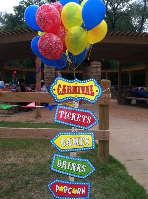 Carnival Birthday Party sign! See more party planning ideas at CatchMyParty.com!