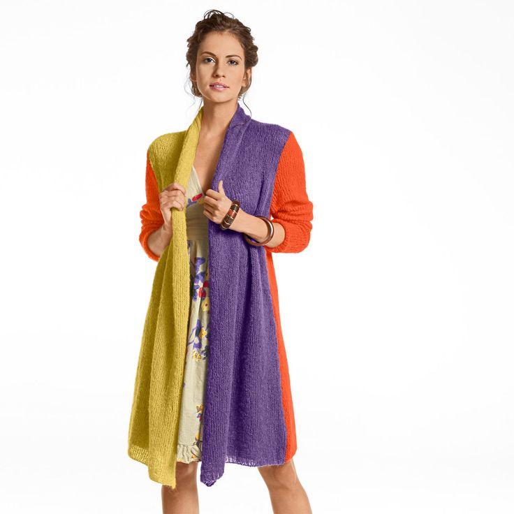 Für dieses Modell benötigen Sie: Für Gr. 36-46: 125 g Aerea in Orange und je 75 g in Violett und Curry.  Strick-N 4,0 - 6,0.  Länge ca. 90 cm.