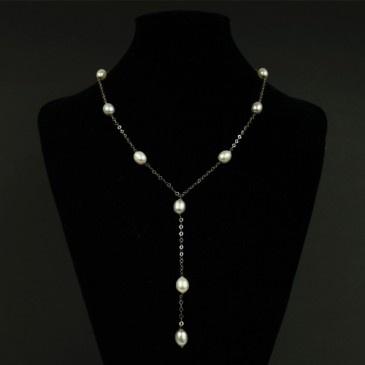Collana Lunga con Perle d'Acqua Dolce e Oro 18k
