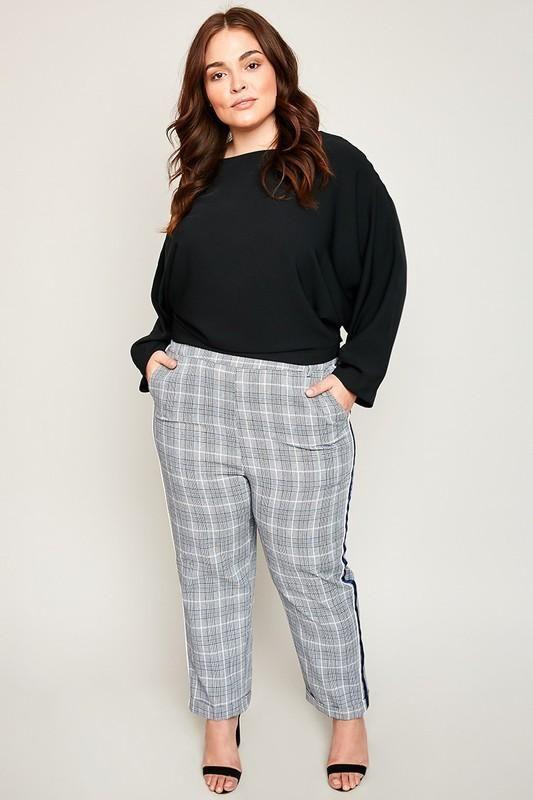 f4c02ad7f3b Side Stripe Plaid Print Plus Size Pants | BolderSides Women Pants ...