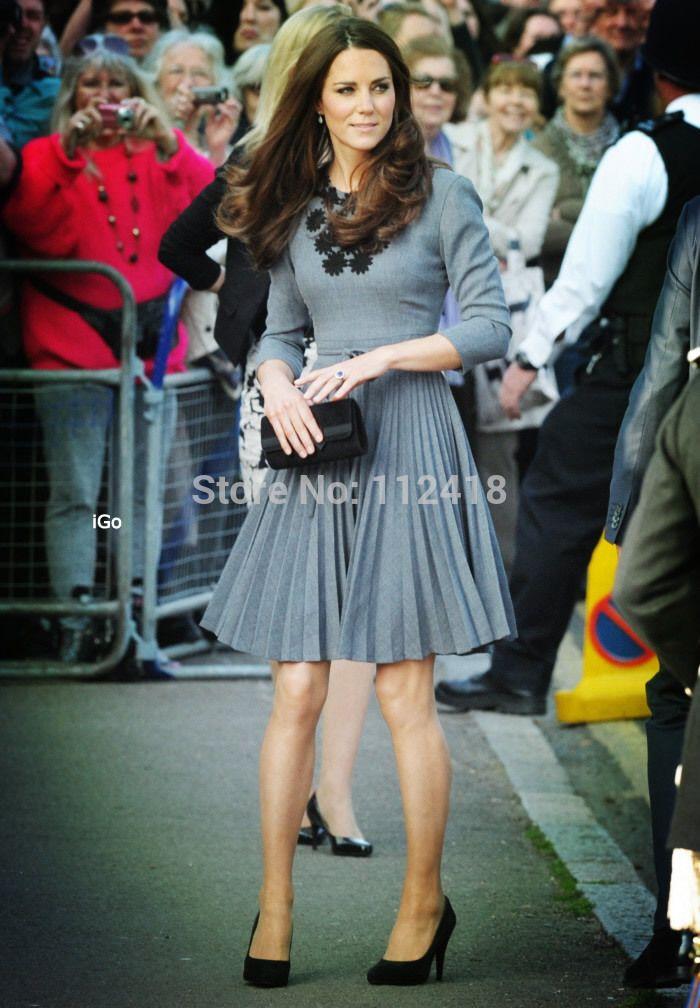 Encontre mais Vestidos Informações sobre Alta qualidade Kate Middleton princesa apliques vestido elegante manga comprida vestidos plissados W588, de alta qualidade Vestidos de Fahion Dress  Co.,Ltd em Aliexpress.com