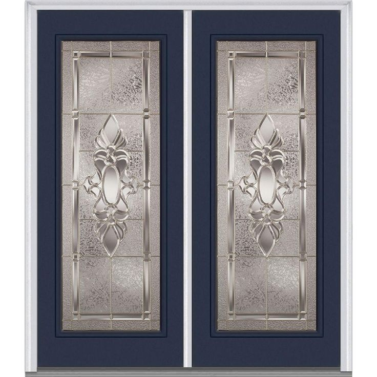 Milliken Millwork 66 in. x 81.75 in. Heirloom Master Decorative Glass Full Lite Painted Fiberglass Smooth Exterior Double Door, Naval