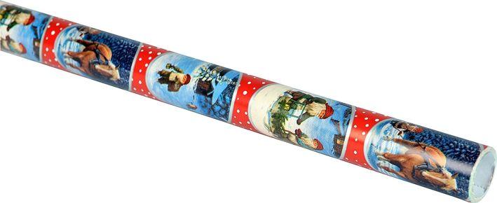 Julpapper, kraftigt papper 5 m, 3104771, juldekorationer, julpynt, julklappsinslagning, paketinslagning, omslagspapper, presentpapper, rött, blått, jultomtar, häst och släde