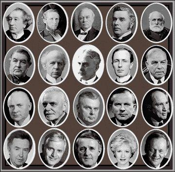 Prime Ministers, starting with Alexander MacDonald the first PM in 1815 to 2003, missing Paul Martin 2003-2006 and Steven Harper 2006-to present day