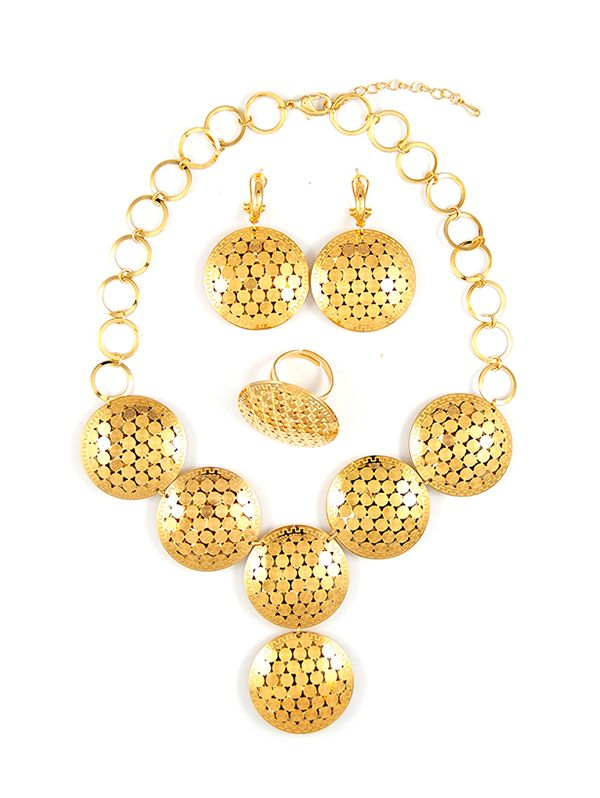 Yellow gold trendy necklace jewelry sets | Teemtry.com shopping - The best deals on necklace sets