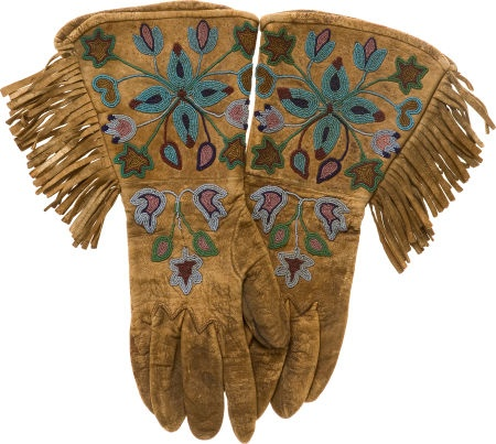 American Indian Art:Beadwork and Quillwork, A PAIR OF PLATEAU BEADED HIDE GAUNTLETS. c. 1890... (Total: 1 Pair) Image #1