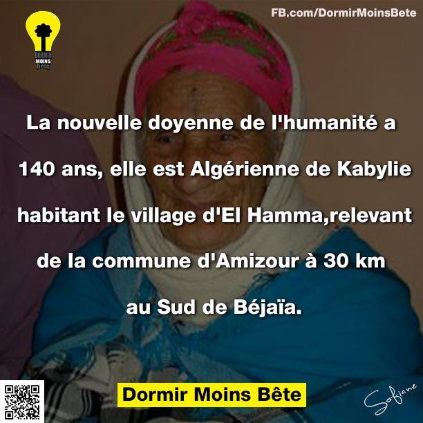 La nouvelle doyenne de l'humanité a 140 ans, elle est Algérienne de la Kabylie habitant le village d'El Hamma, relevant de la commune d'Amizour à 30 km au sud de Béjaïa.