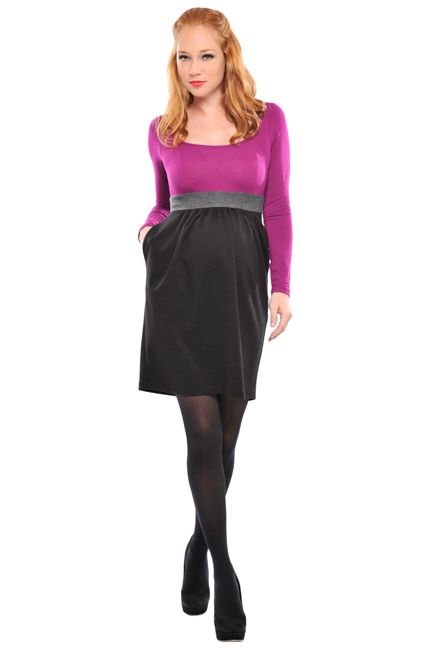 Christmas Holiday Pink Black Dress Maternity  www.duematernity.com