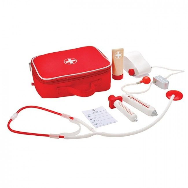 Calling all future doctors! Be ready for any teddy bear emergencies with this Hape Doctor on Call set! It includes 6 important tools to heal your friends, plus a sturdy red bag to hold all your essentials. #entropytoys #woodentoys #pretendplay