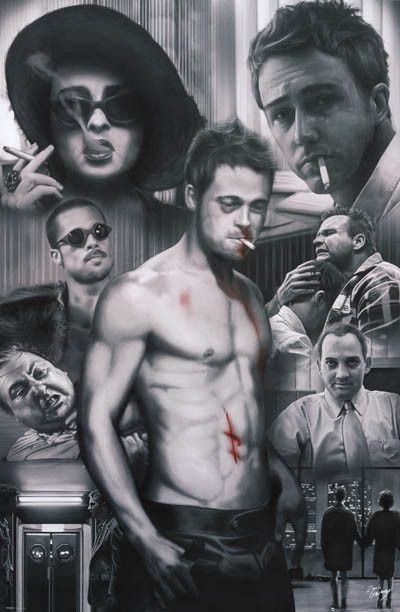 Fight Club Cast Collage Zach Garbrey Art Movie Poster 24x36