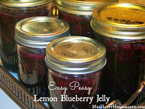 Easy Lemon Blueberry Jelly: This recipe is SO easy, and doesnt call for pectin at all!  Would you believe Jello is the secret?  Gotta check this one out!  |  Mrs. Happy Homemaker