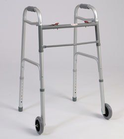Walking Aid - 1 inch Tubbing, Dual Button folding walker, With 3 inch wheels Weight capacity of 250 lb. Comes with Glide Caps. by King Products. $89.99. Walking Aid - 1 inch Tubbing, Dual Button folding walker, With 3 inch wheels Weight capacity of 250 lb. Comes with Glide Caps.. Save 33% Off!